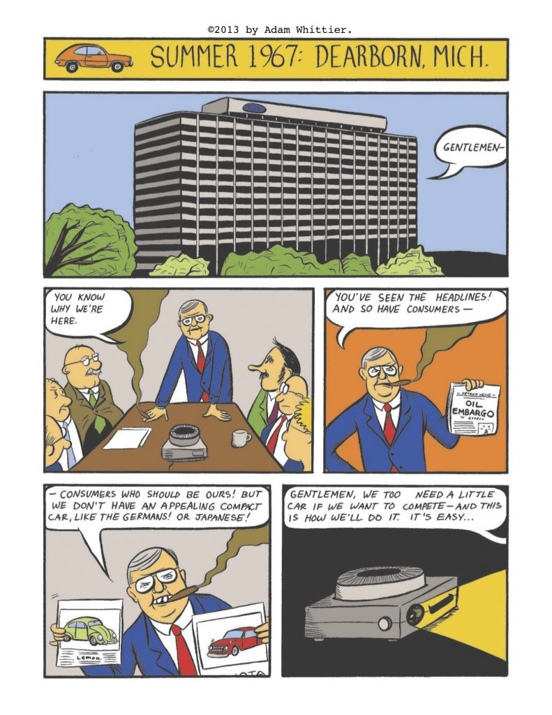Educational comic book. Lee Iacocca talking with engineers about Ford's competition in the compact-car segment