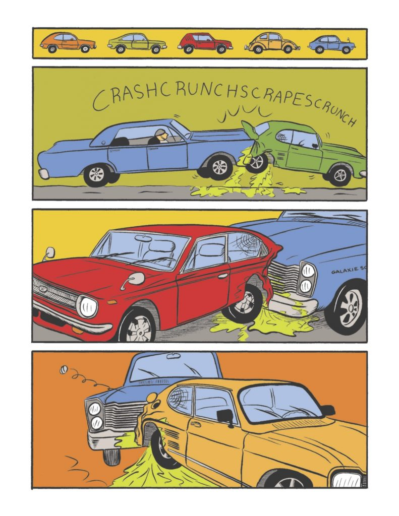 Educational comic book. Cars modified to reflect the Pinto's design are crash-tested. Gasoline spills everywhere.