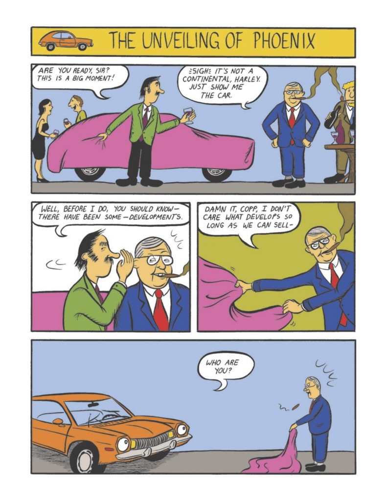 """Educational comic book. The Ford Pinto is unveiled to Lee Iacocca. The Pinto is anthropomorphized and asks Iacocca """"Who are you?"""""""