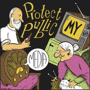 Nostalgic illustration of older couple enjoying public television and radio