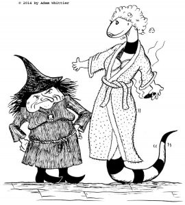 Edwina the witch and Belinda the snake, dressed as Rapunzel. Children's book illustration.