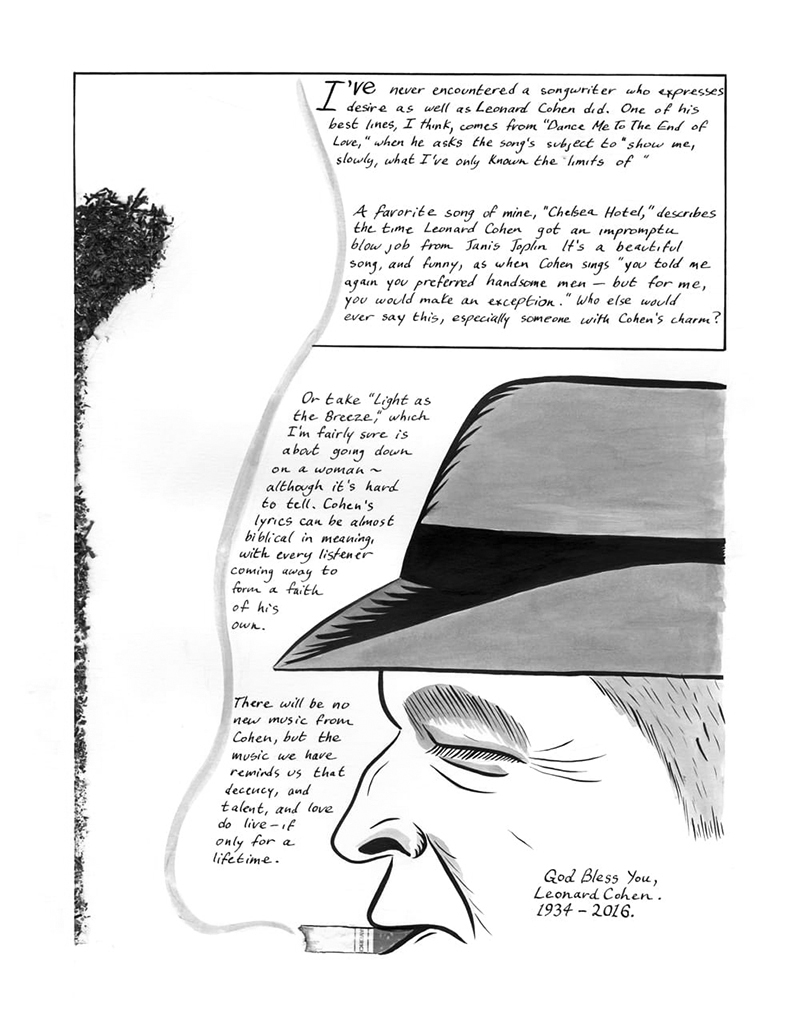 Third page of comics eulogy to Leonard Cohen
