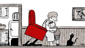Nostalgic cartoon of grandmother in a lift chair, with antique kitchen appliances in the background. Homey, old-time atmosphere.