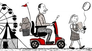 Nostalgic drawing of a man on a scooter, enjoying the county fair