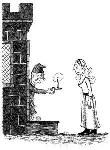 Rapunzel at the gatehouse. Children's book illustration.