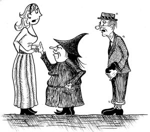 Rapunzel and Edwina the witch arguing. Children's book illustration.